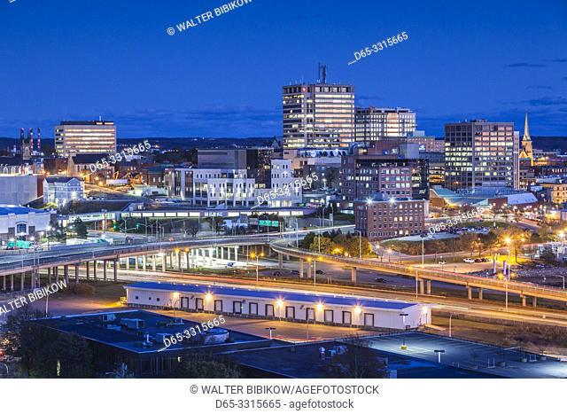 Canada, New Brunswick, Saint John, skyline from Fort Howe, dusk