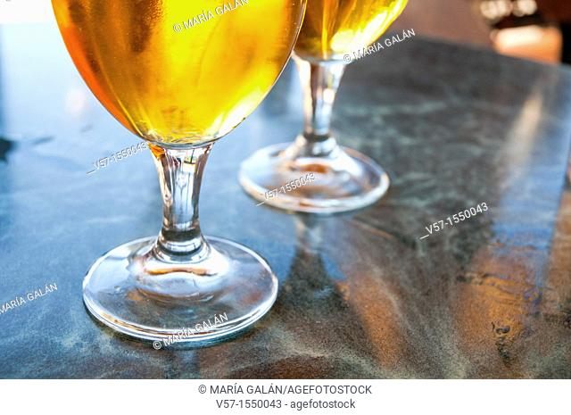 Two glasses of beer, close view