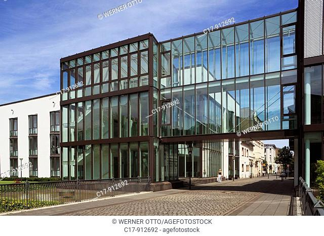 Germany, Duisburg, Rhine, Lower Rhine, Ruhr area, North Rhine-Westphalia, Duisburg-Ruhrort, Franz Haniel Academy, glass facade, architect Fritz Eller