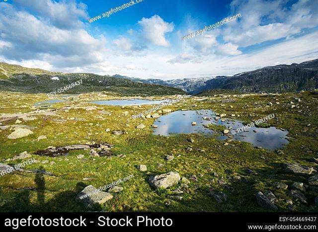 Beautiful Norwegian Mountains and Blue Deep Lake. Nature of Norway. Travel and Hiking. Amazing Scenic View. Nobody. Scandinavia