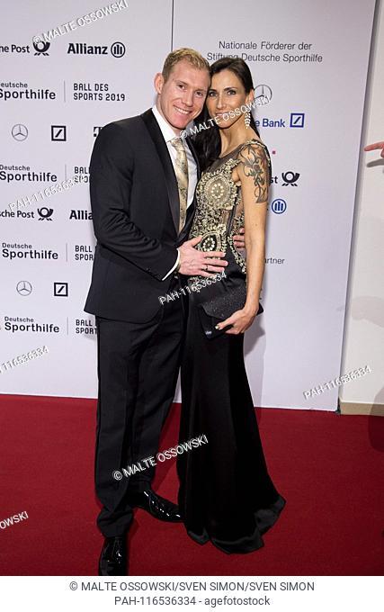 Artur ABELE, Zehnkaempfer, with partner Susann EHMIG, Red Carpet, Red Carpet Show, Ball of Sports on 02.02.2019 in Wiesbaden | usage worldwide