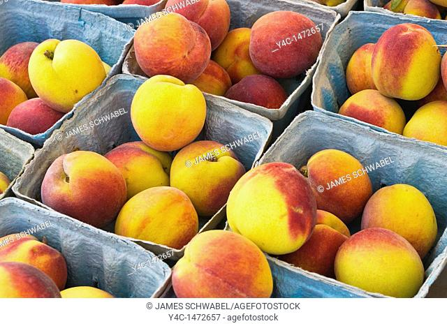 Peaches in containers at Public Market in Rochester New York