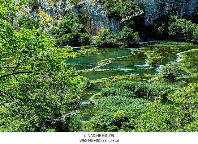 Croatia, Green pond in Roski Slap National Park