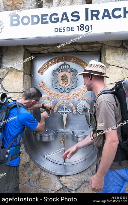 Free wine at Bodegas Irache, Navarra, Spain. Pilgrimage route Camino Santiago de Compostela. The Camino French Way traditionally starts in St