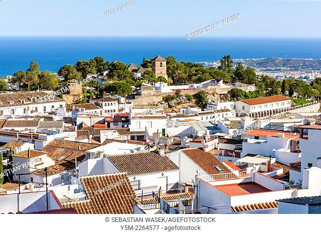 Bullring and church built on a former moorish mosque, Mijas, Malaga Province, Andalusia, Spain, Europe