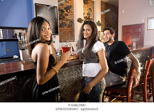 Portrait of multi-ethnic friends at standing at bar with drinks