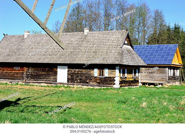Ruten traditional wooden houses. Skansen open air museum, Bialowieza, Poland