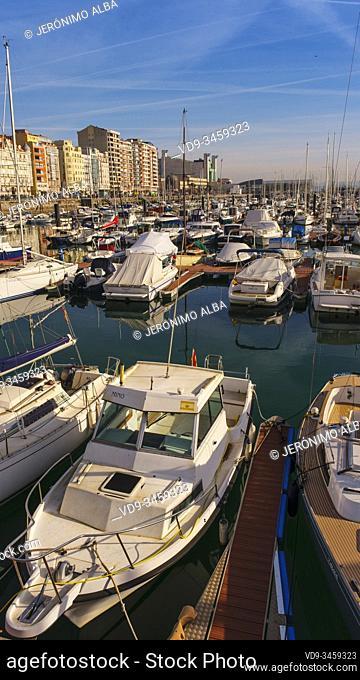 Panoramic harbor view. Boats at Puerto Chico marina and city of Santander, Cantabrian Sea. Cantabria, north Spain. Europe