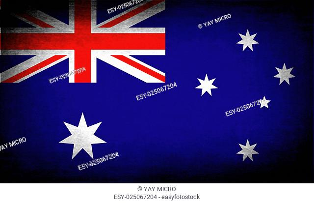 Flag of Australia with old texture