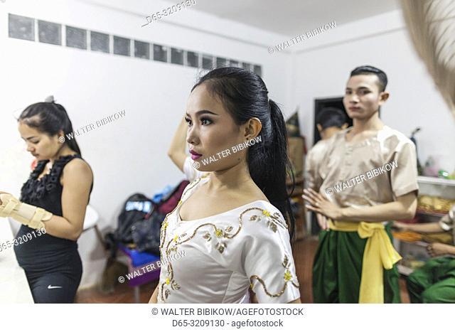 Cambodia, Battambang, Phar Ponleu Selpak, arts and circus school, dancers in costume before circus performance, ER