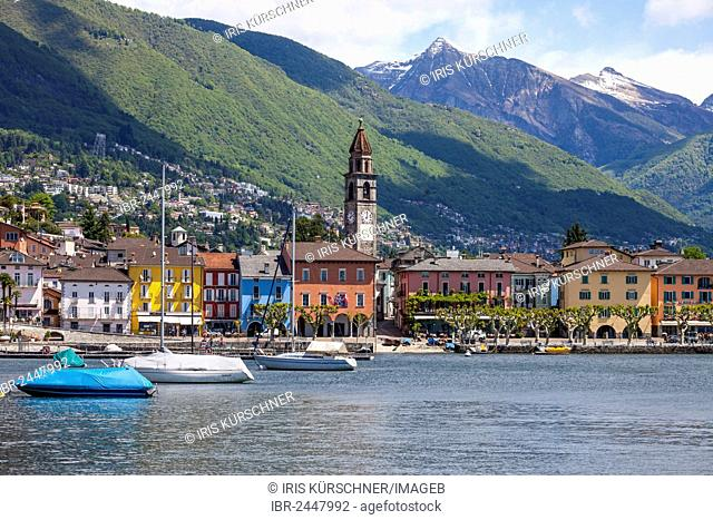 Townscape of Ascona, looking towards Pizzo Vogorno Mountain and Madone Mountain, lake Lago Maggiore, Ticino, Switzerland, Europe