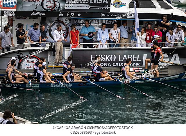 CASTRO URDIALES, SPAIN - JULY 15, 2018: Competition of boats, regata of trainera, Urdaibai Avia boat with the prize after winning the competition VI Bandera...