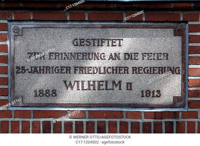 Germany, Kiel, Kiel Fjord, Baltic Sea, Schleswig-Holstein, Seehof, restaurant and cafe, commemorative plaque in honour of Emperor Wilhelm II for 25 peaceful...