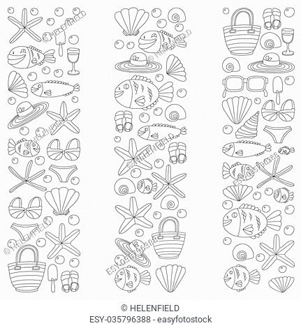 Vector doodle pictures of beach vacation and tropical sea life Hand drawn images