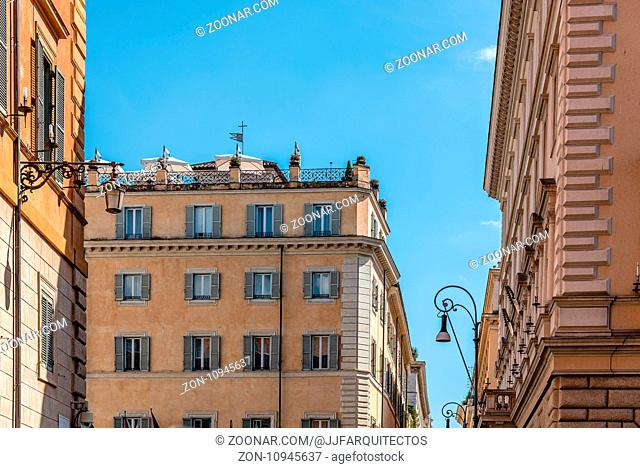 Rome, Italy - August 18, 2016: Low angle view of old buildings in historical centre of Rome a sunny summer day. Piazza di Minerva near Panteon