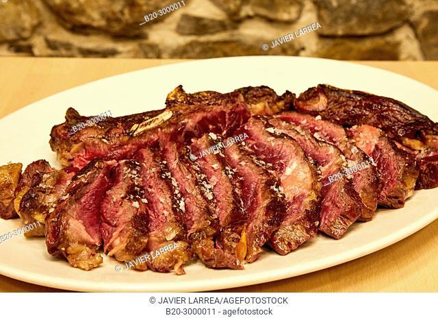Grilled Beef Chop, Bar Restaurante Portaletas, Parte Vieja, Old Town, Donostia, San Sebastian, Gipuzkoa, Basque Country, Spain