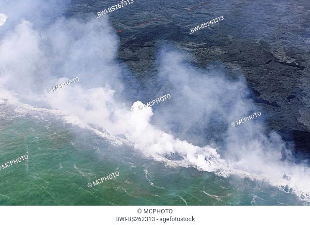 Lava flowing from Kilauea Volcano in the sea, USA, Hawaii, Hawaii Volcanoes National Park