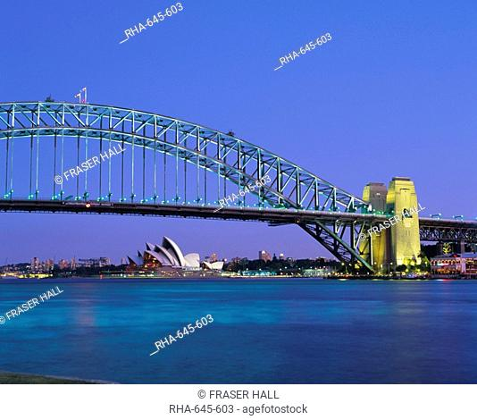 The Sydney Harbour Bridge and Opera House, Sydney, New South Wales, Australia