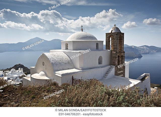 Church above Plaka village, Milos island, Greece.
