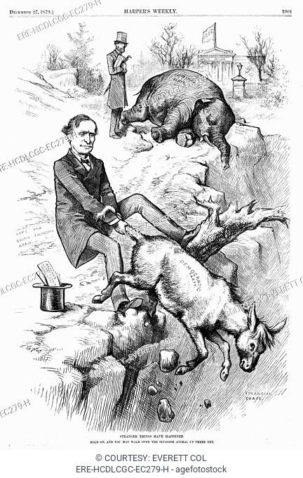 Thomas F. Bayard holding on to tail of Democratic donkey and the Republican elephant, the White House in background, with flag 1880
