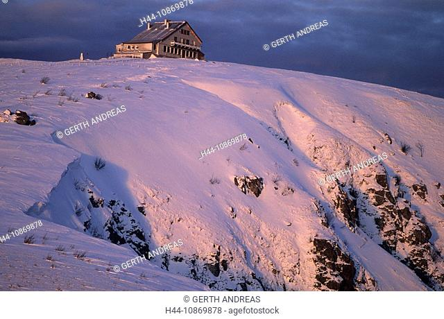 France, Alsace, travesty corner, house, home, winter, winter scenery, Vosges Mountains, snow, season, mood, evening mood, evening, evening light, Red