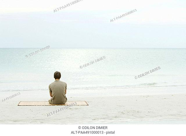 Teenage boy sitting at the beach, looking at the ocean, rear view