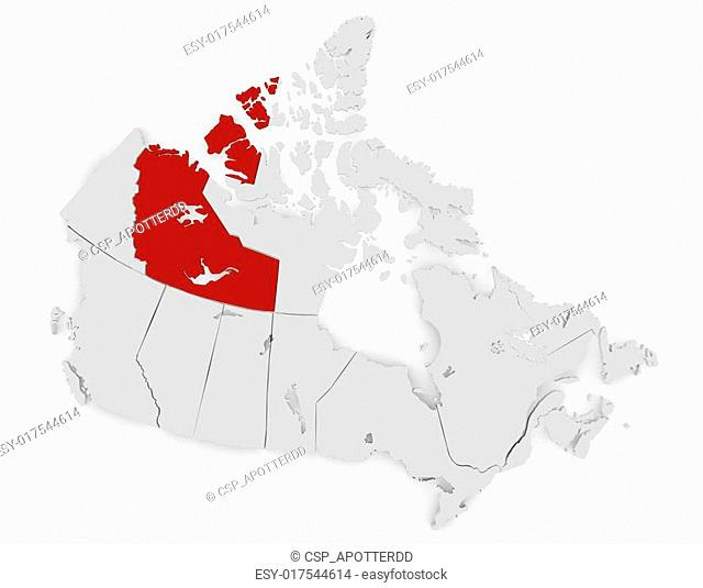 3d Render of Canada Highlighting Northwest Territories