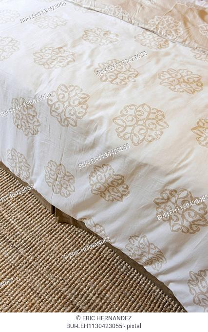 High angle view of floral duvet