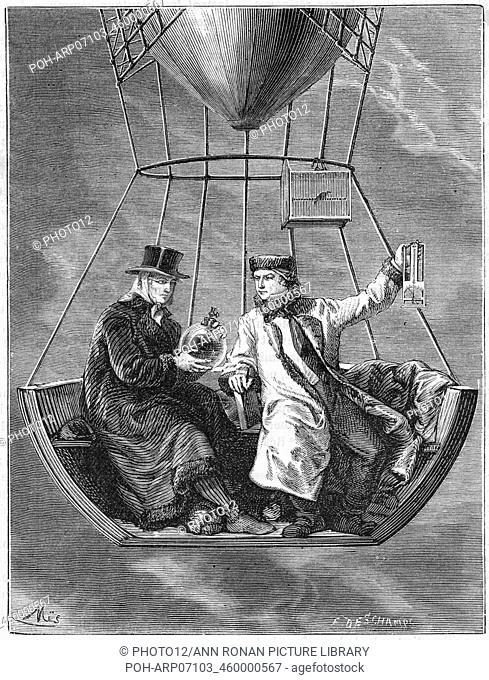 Jean Baptiste Biot (1774-1864) and Joseph Louis Gay-Lussac (1778-1850), left, making measurements at a height of 4, 000 metres during their balloon ascent of 20...