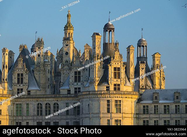 France, Loir-et-Cher (41), Chambord (UNESCO World Heritage), royal castle of the Renaissance, after the snowfall of 10th February 2021