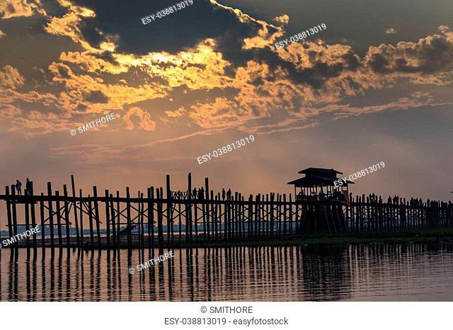 U bein wooden teck bridge at dusk in Amarapura Myanmar (Burma)
