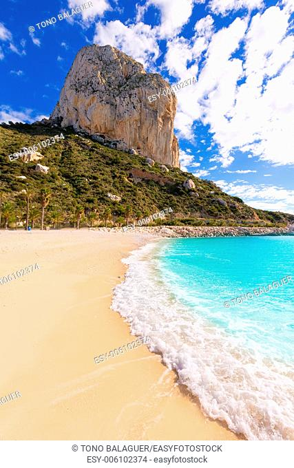 Calpe Cala el Raco beach in Mediterranean Alicante of Spain