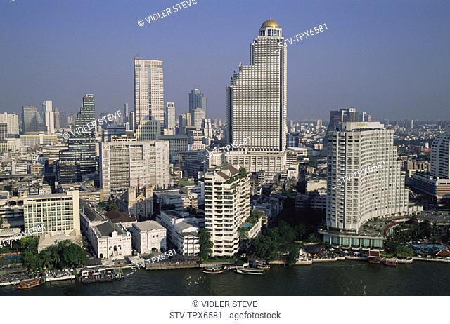 Asia, Bangkok, Buildings, Chao, Chaophraya, City, Holiday, Landmark, Modern, Phraya, River, Skyline, Skyscapers, Thailand, Touri