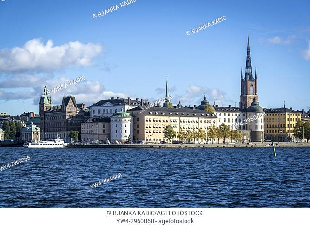View of Riddarholmen and Riddarholmen church, Stockholm, Sweden