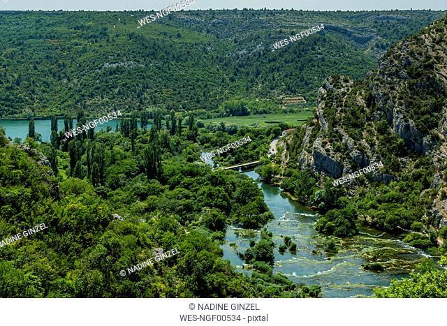 Croatia, Green scenic landscape of Roski Slap National Park in summer