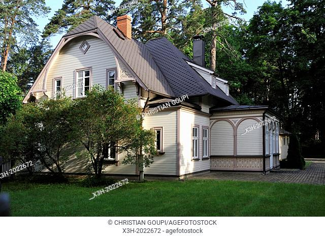typical wooden house at Jurmala, Gulf of Riga, Latvia, Baltic region, Northern Europe
