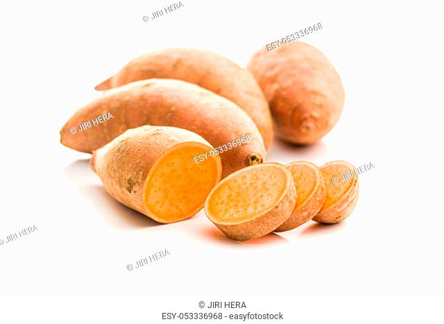 The sweet potatoes isolated on white background