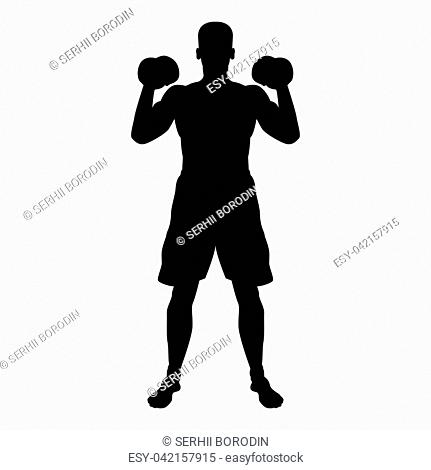 Man doing exercises with dumbbells Sport action male Workout silhouette front view icon black color vector illustration flat style simple image