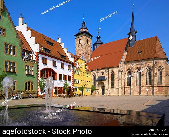 Market with town hall and Georgskirche in Schmalkalden, Thuringia, Germany