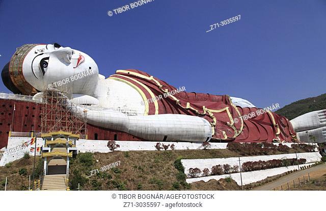 Myanmar, Mon State, Mudon, Win Sein Taw Ya, Reclining Buddha, statue,