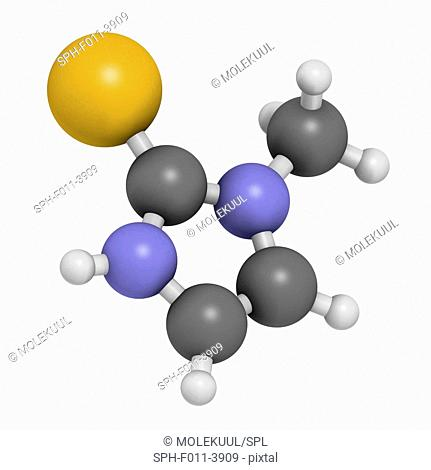 Methimazole hyperthyroidism drug molecule. Atoms are represented as spheres with conventional colour coding: hydrogen (white), carbon (grey), nitrogen (blue)