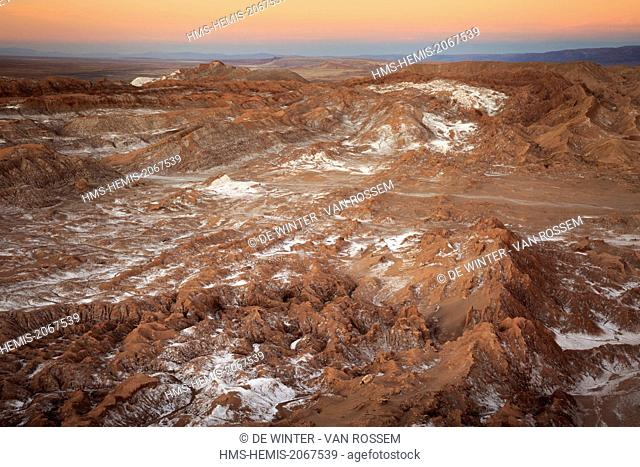 Chile, El Norte Grande, Antofagasta Region, Salar de Atacama, Valle de la Luna (Valley of the Moon), aerial view at dawn