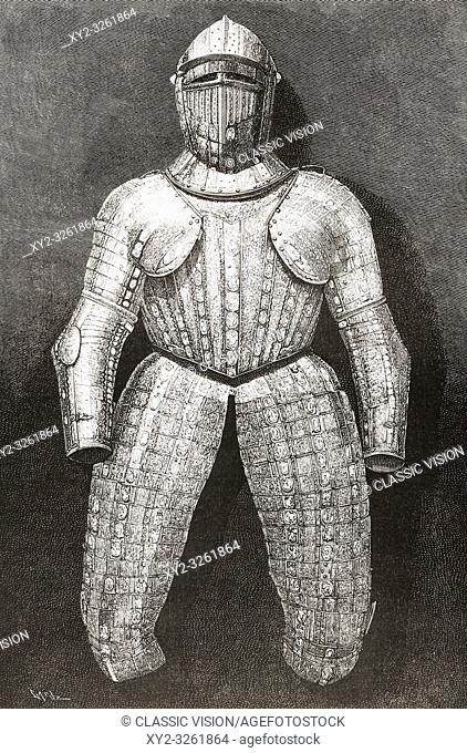 """Suit of armour which belonged to Christopher Columbus. Christopher Columbus, c. 1451 â. """" 1506. Italian explorer, navigator, and colonist"""