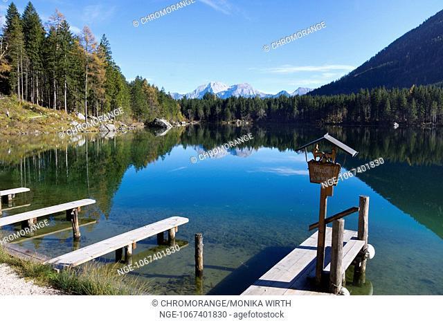 Lake Hintersee with landing stage, Ramsau near Bechtesgaden, Berchtesgaden Nation Park, Berchtesgadener Land, Upper Bavaria, Bavaria, Germany, Europe