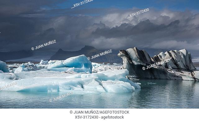 Vatnajokull glacier. Iceberg in Jokulsarlon. Iceland