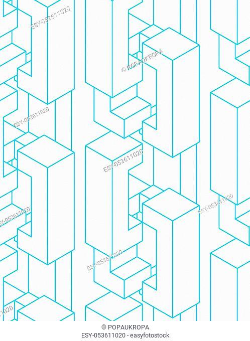 Blockchain network background. Technology block chain abstract seamless pattern