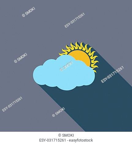 Cloudiness single icon. Flat vector related icon with long shadow for web and mobile applications. It can be used as - logo, pictogram, icon