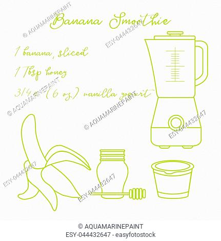 Recipe, blender and ingredients for making banana smoothie. Healthy eating habits. Design for banner and print