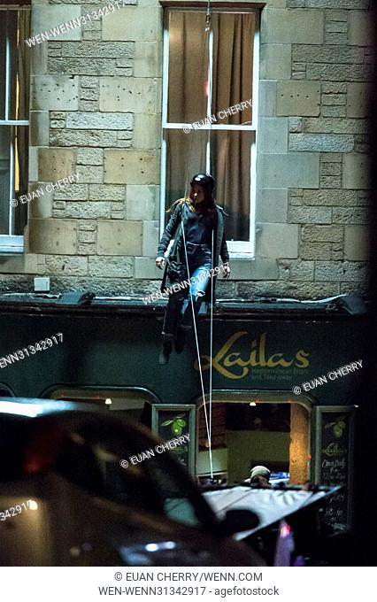 Elizabeth Olsen (Scarlett Witch) is spotted on set in Edinburgh as the first unit film for The Avengers: Infinity War. Featuring: Elizabeth Olsen Stunt double...