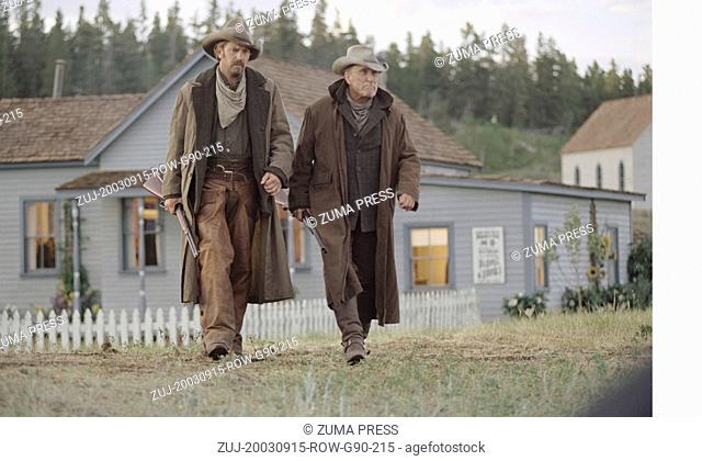 Sep 15, 2003; Alberta, Canada; Actors KEVIN COSTNER as Charley Waite with ROBERT DUVALL as Boss Spearman in 'Open Range.'  (Credit Image: © Courtesy of...